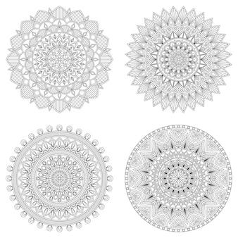 Set di mandala floreali, illustrazione vettoriale