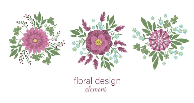 Set di elementi decorativi rotondi floreali