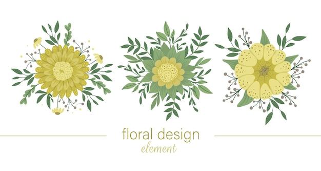 Set di elementi decorativi gialli rotondi floreali