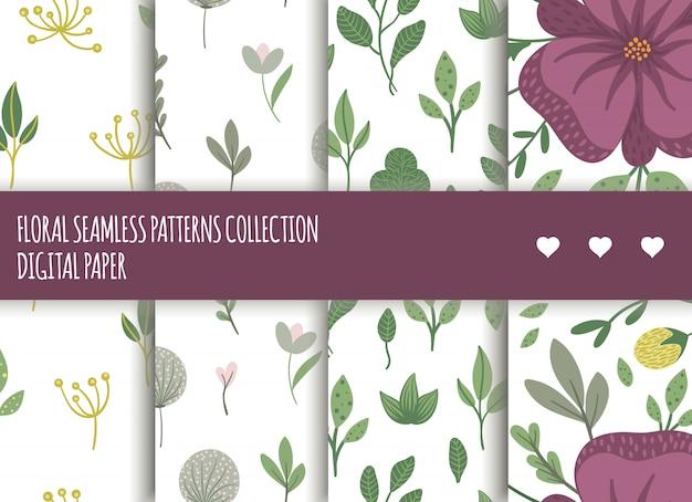 Set di motivi floreali senza soluzione di continuità. illustrazione alla moda piatta con fiori, foglie, rami.