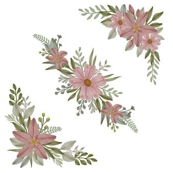 Impostare acquerello floreale di polveroso rosa polveroso