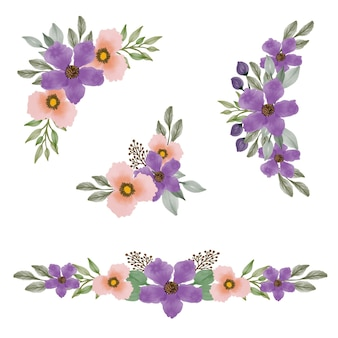 Impostare la cornice floreale dell'acquerello di viola e arancione