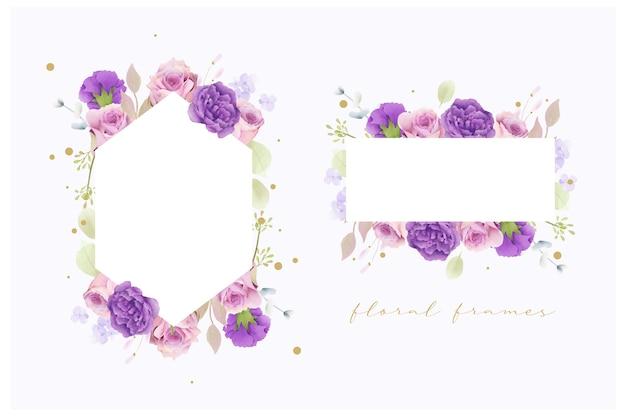 Set di cornici floreali matrimonio acquerello