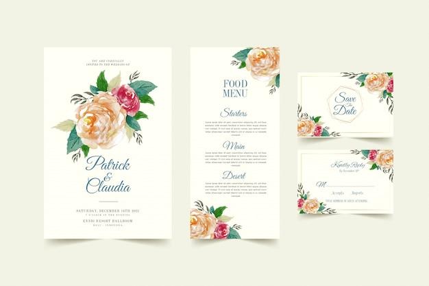 Insieme del modello floreale della carta dell'invito di nozze con il fiore rosa e il vettore premio delle foglie