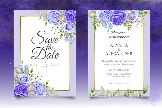 Set di modello di invito matrimonio floreale con bellissimi fiori e foglie