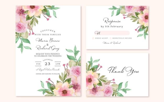 Set di invito a nozze floreale con bouquet floreale rosa