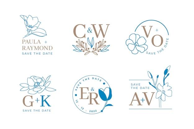 Set di loghi di nozze floreali e monogramma con eleganti foglie per invito salvare il design della carta data. illustrazione botanica Vettore Premium