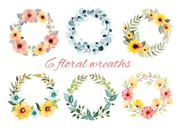 Set di illustrazione stile acquerello ghirlanda floreale