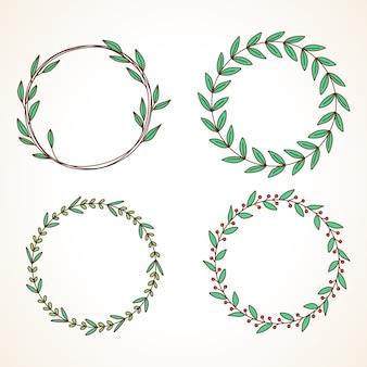 Set di ghirlanda floreale con foglie e bacche cornice rotonda per inviti di nozze e biglietti di auguri