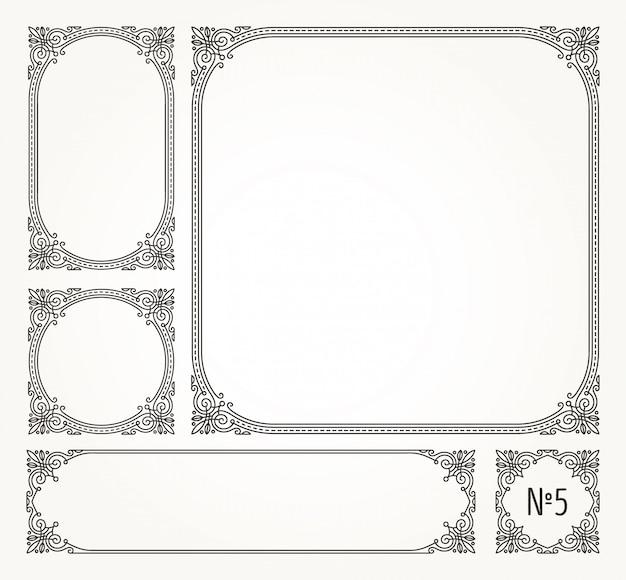 Set di fiorisce calligrafici eleganti cornici ornamentali e bordi - illustrazione.