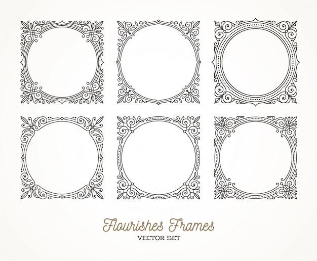Set di fiorisce calligrafici eleganti cornici ornamentali - illustrazione.