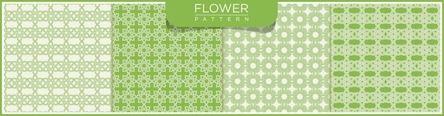 Insieme del modello senza cuciture della linea di vettore astratto del fiore. sfondo bianco e verde con ornamenti arabi.