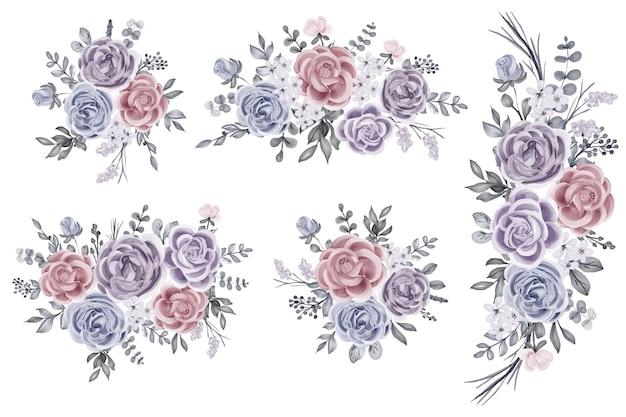 Set di composizioni floreali con rose e foglie d'inverno