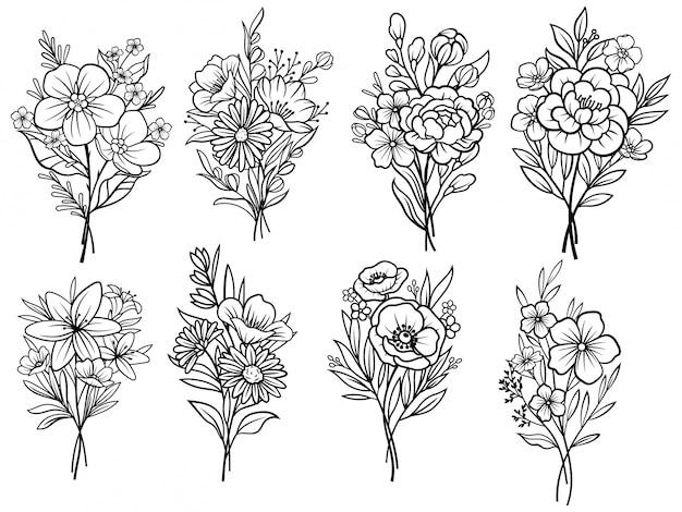 Set di mazzi di fiori. ekibana floreale. illustrazione su uno sfondo bianco.