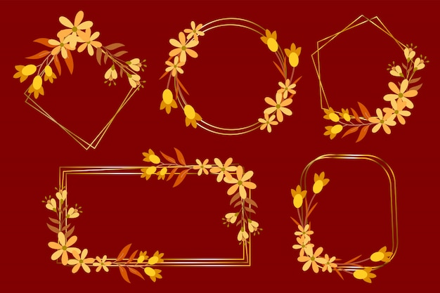 Set di cornice floreale in oro per invito a nozze, logo monogramma e logo del marchio