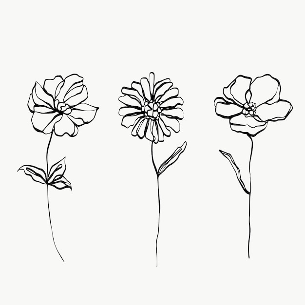 Impostare l'arte della linea di fiori. astratto moderno o minimale. perfetto per l'arredamento della casa come i poster. disegno di illustrazioni vettoriali.