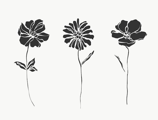 Imposta la linea di fiori astratta moderna o minimale perfetta per l'arredamento della casa come il vettore di poster