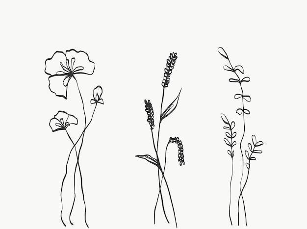 Imposta la linea di fiori astratta moderna o minimale perfetta per l'arredamento della casa come i poster
