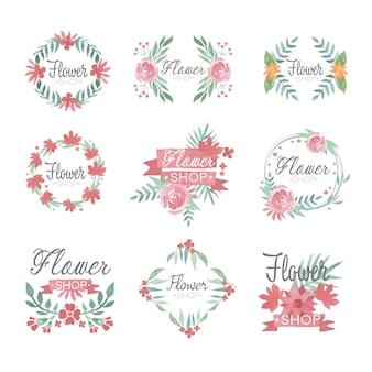Insieme di progettazione di logo del negozio di fiori, illustrazioni ad acquerelli colorati