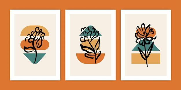 Set di fiori con illustrazione di forma geometrica