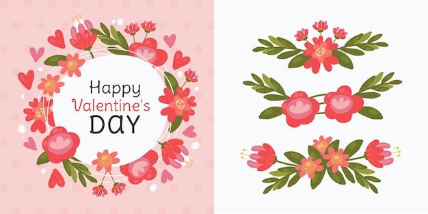 Set di ghirlanda di fiori per san valentino