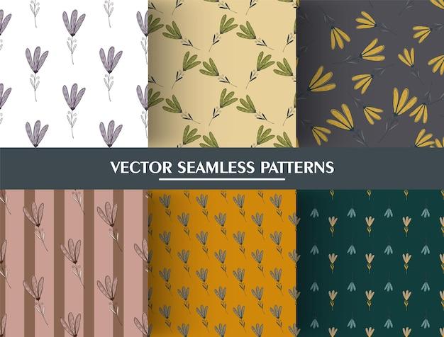 Set di fiori ornamento botanico seamless pattern. collezione di fiori carini.