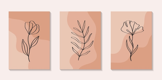 Set di fiori linea continua arte con forma astratta in uno stile moderno alla moda