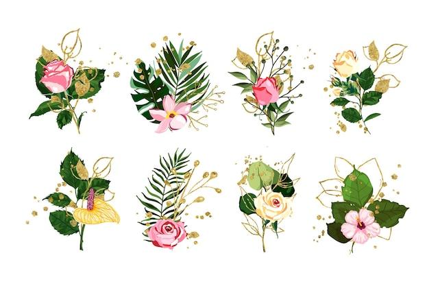 Set di fiori e piante con elementi dorati