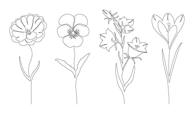 Insieme dei fiori su bianco. stile di disegno a una linea.