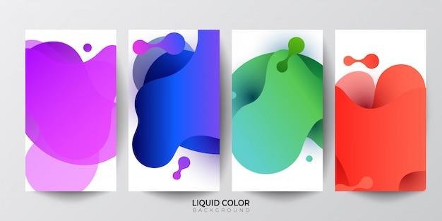 Insieme delle bandiere di composizione astratta forme fluide. Vettore Premium