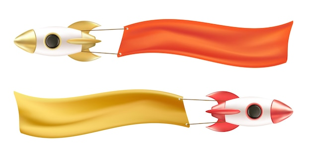 Set di razzi volanti con striscioni o nastri con posto per il testo. concetto di impresa di avvio. modello pubblicitario. illustrazione vettoriale realistica 3d di un'astronave isolata su uno sfondo bianco