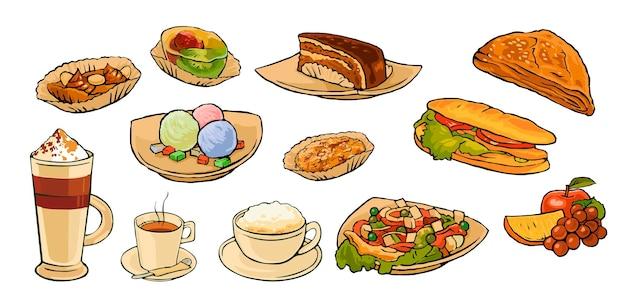 Impostare cibo e bevande al caffè per il menu del bar. insalata, panino, faple, uva, arancia, torta, cappuccino, latte e gelato. illustrazione di colore piatto vintage vettoriale isolato su sfondo bianco