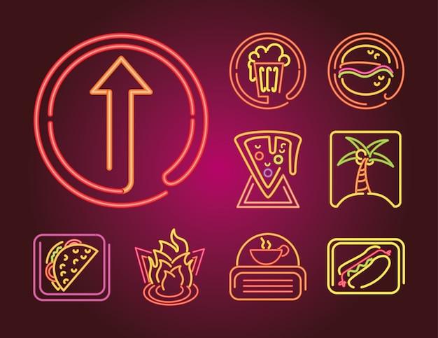 Insieme dell'icona dell'insegna al neon di cibo e bevande sull'illustrazione di gradiente