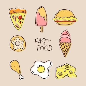 Set di cibo disegnato a mano vector