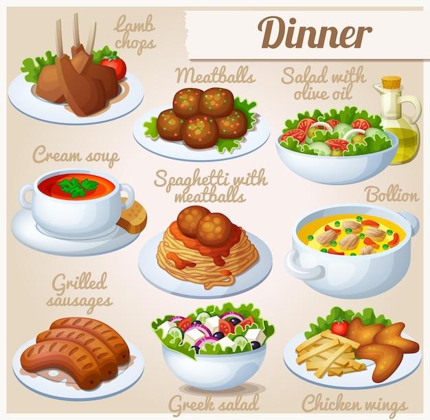 Set di icone di cibo cena