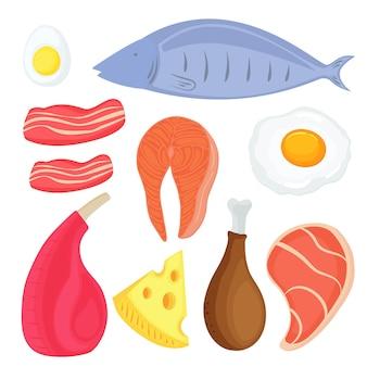 Set di alimenti per la dieta chetogenica. pesce, carne, uova. trancio di salmone. maiale, pollo, fette di pancetta. pezzo di formaggio.