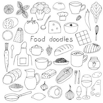 Set di cibo e accessori per la cucina illustrazione vettoriale doodles