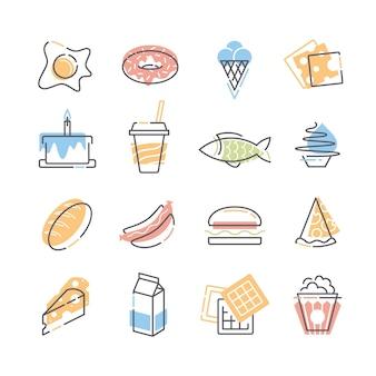 Set di icone piatte di linea e colore di cibo.