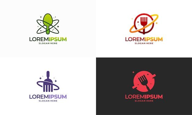 Set di logo food planet, logo world food progetta vettore di concetto, modello di design logo ristorante, simbolo icona logo