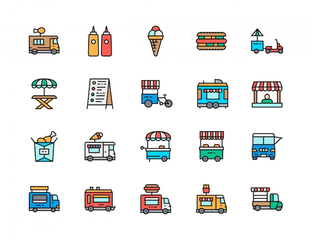 Set di icone di linea di colore piatto camion di cibo. pollo fritto, gelato, hot dog