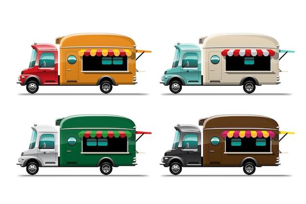 Set di cibo di strada di camion di cibo e trasporto di consegna fastfood, colorato su sfondo bianco, illustrazione