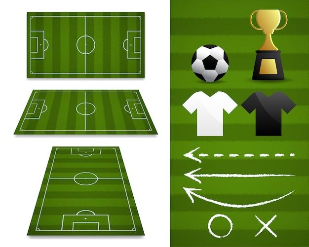 Un insieme dei campi di football americano con differenti viste di prospettiva con l'elemento di calcio per la pianificazione nella partita, illustrazione.