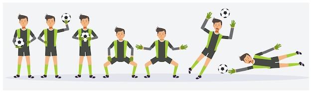 Set di gioco del portiere di calcio sta mostrando diverse azioni