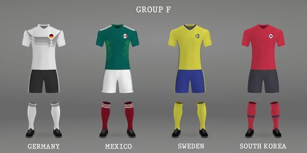 Set di kit da calcio, modello di maglia per jersey da calcio.