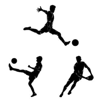 Set di modello di progettazione di logo di sport di calcio