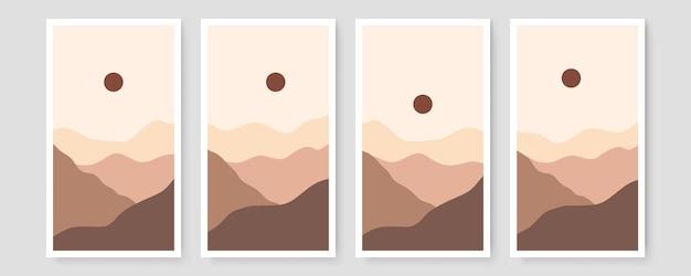 Set di quattro astratti estetici paesaggio moderno metà secolo design contemporaneo boho. illustrazioni minimal e naturali wall art