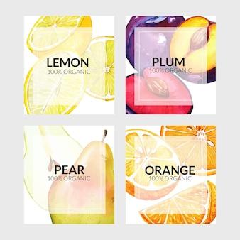 Set di quattro carte con frutti dell'orto con arance e limoni