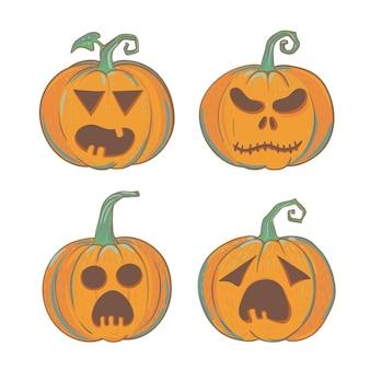 Set di quattro zucche di halloween intagliate illustrazioni vettoriali di halloween isolate su bianco