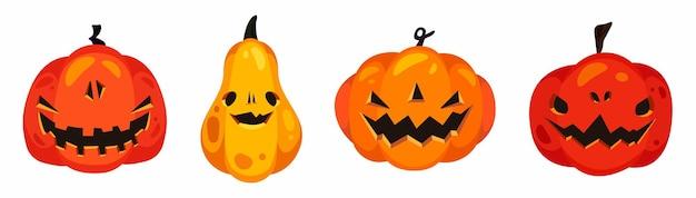 Set di quattro zucche di halloween raccapriccianti in stile cartone animato