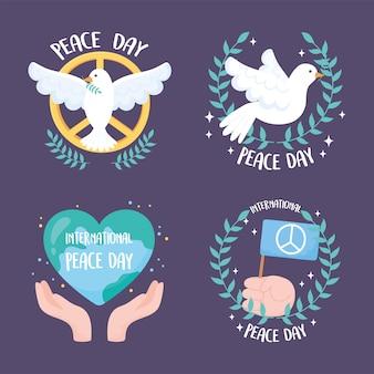 Set di quattro disegni per l'illustrazione vettoriale giornata internazionale della pace